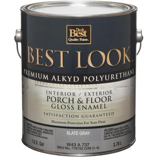 Best Look 1 Gal. Slate Gray Polyurethane Gloss Porch & Floor Enamel