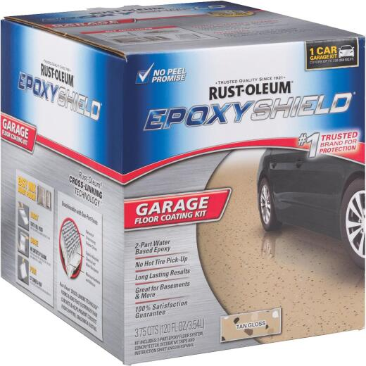 Rust-Oleum EPOXYSHIELD Gloss Garage Floor Coating Kit, Tan, 120 Oz.